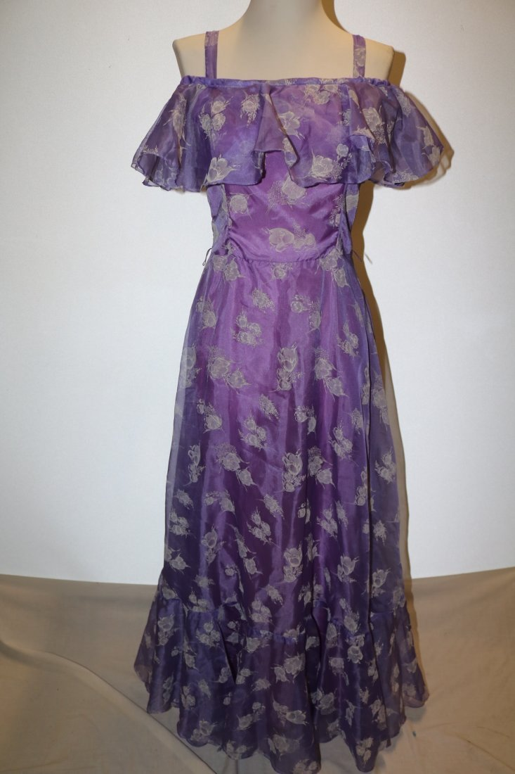 Vintage early 1970's lupine purple sheer chiffon party