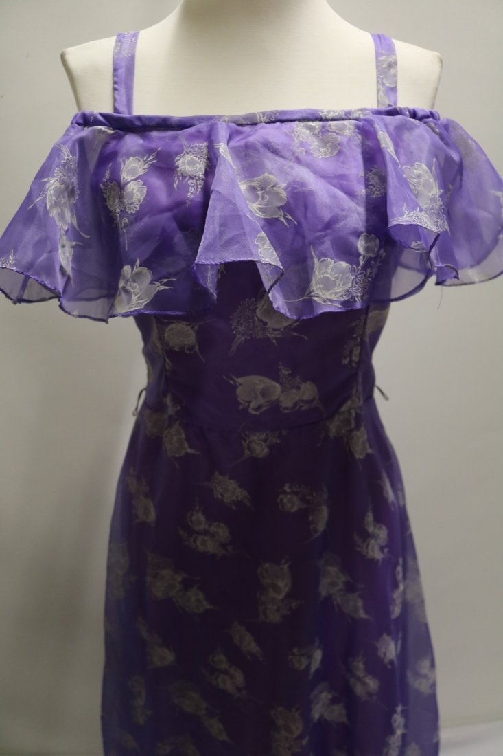 Vintage early 1970's lupine purple sheer chiffon party - 2