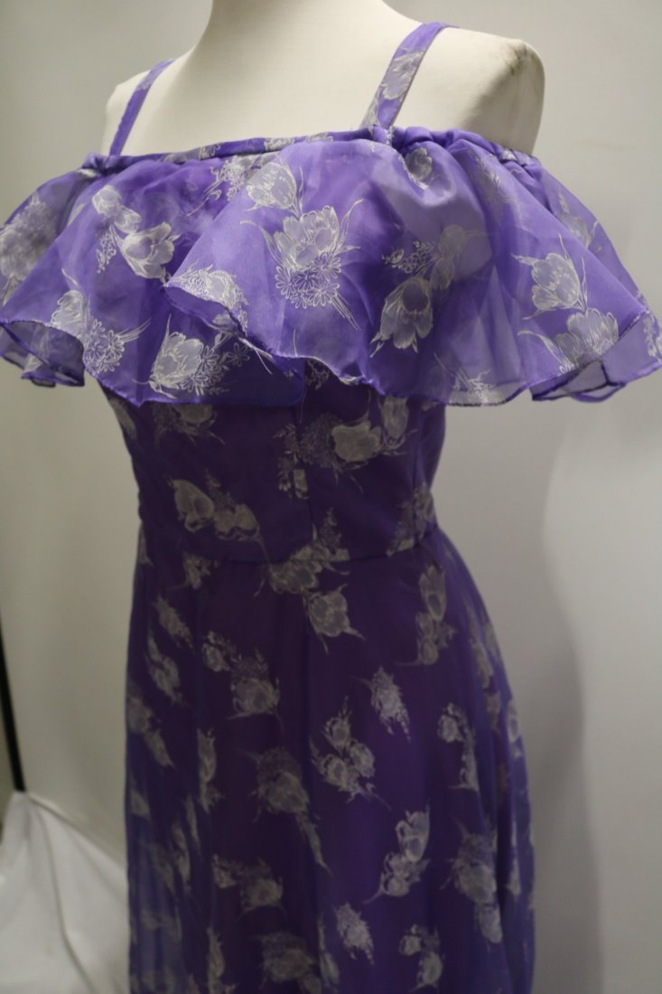 Vintage early 1970's lupine purple sheer chiffon party - 3