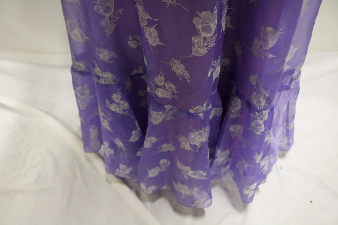 Vintage early 1970's lupine purple sheer chiffon party - 4