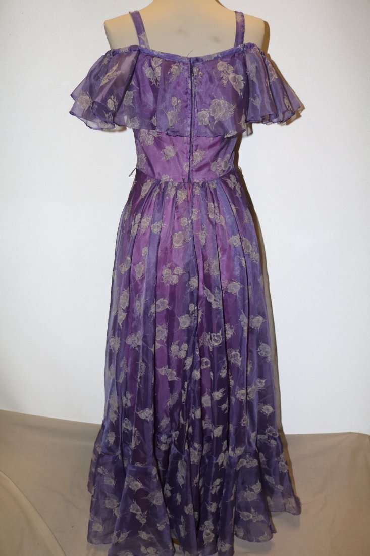 Vintage early 1970's lupine purple sheer chiffon party - 5