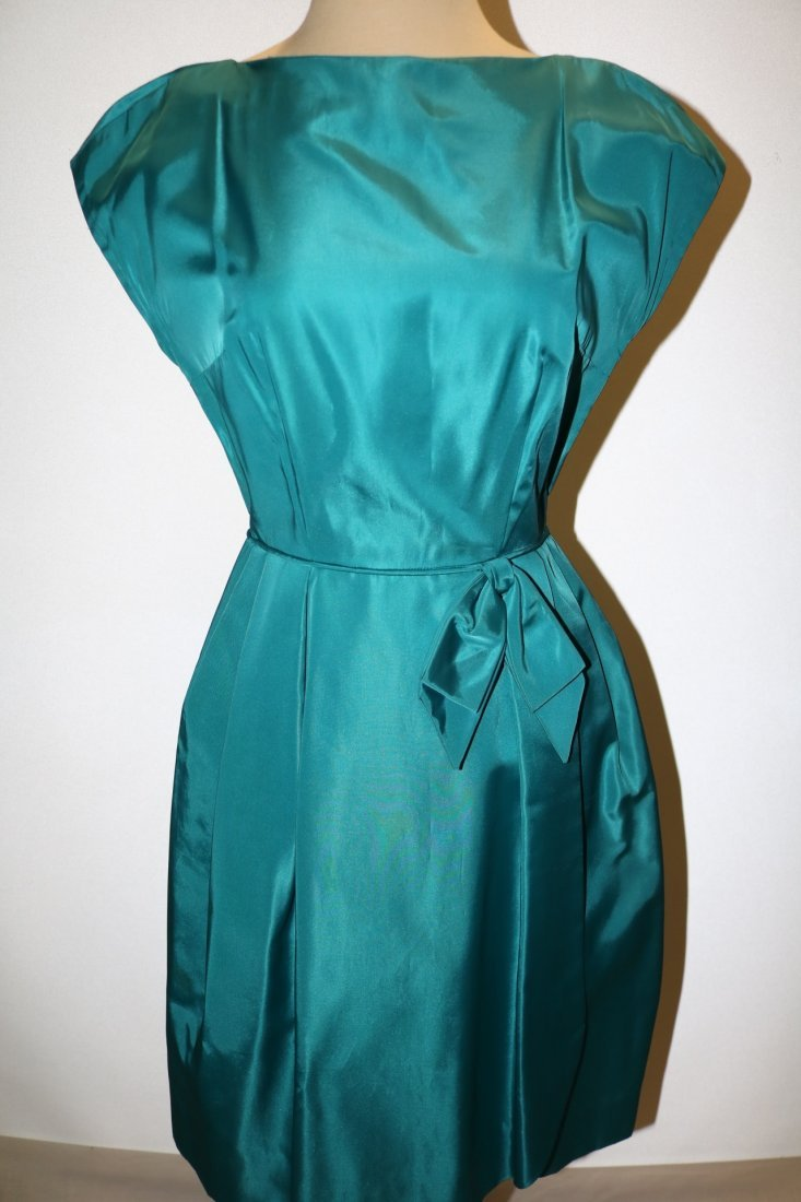 1960's Teal Blue Taffeta Dress with bow at waist