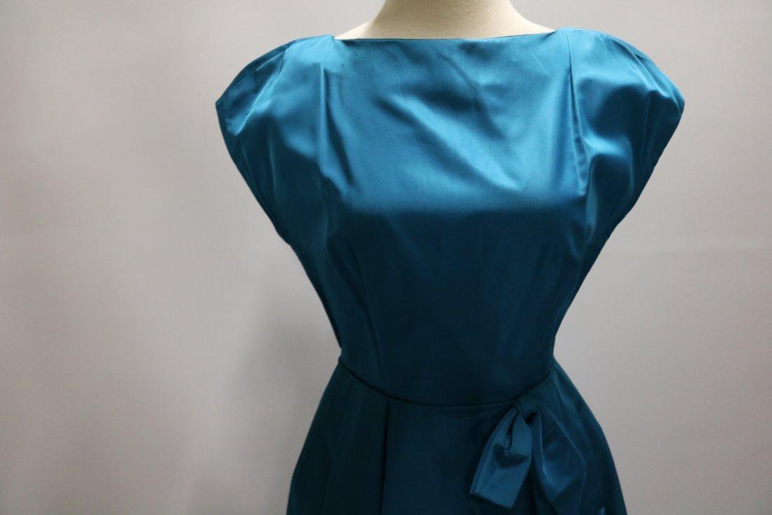 1960's Teal Blue Taffeta Dress with bow at waist - 2