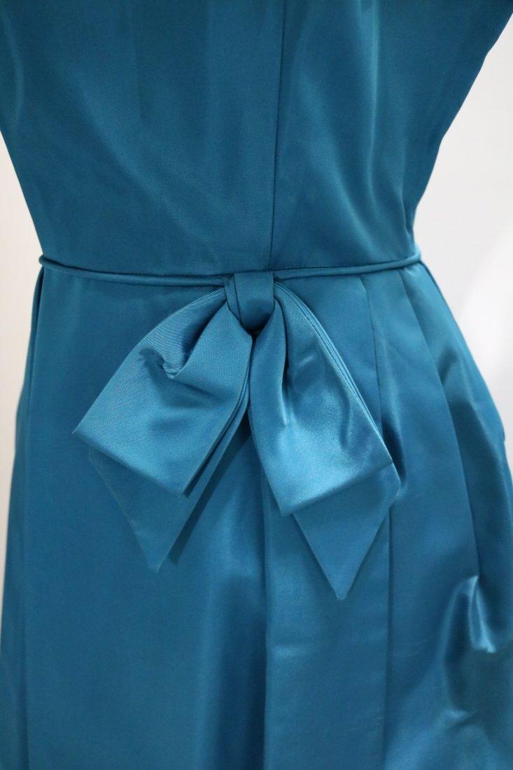1960's Teal Blue Taffeta Dress with bow at waist - 3