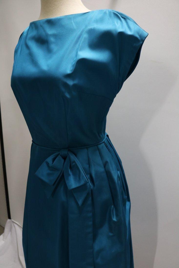 1960's Teal Blue Taffeta Dress with bow at waist - 4