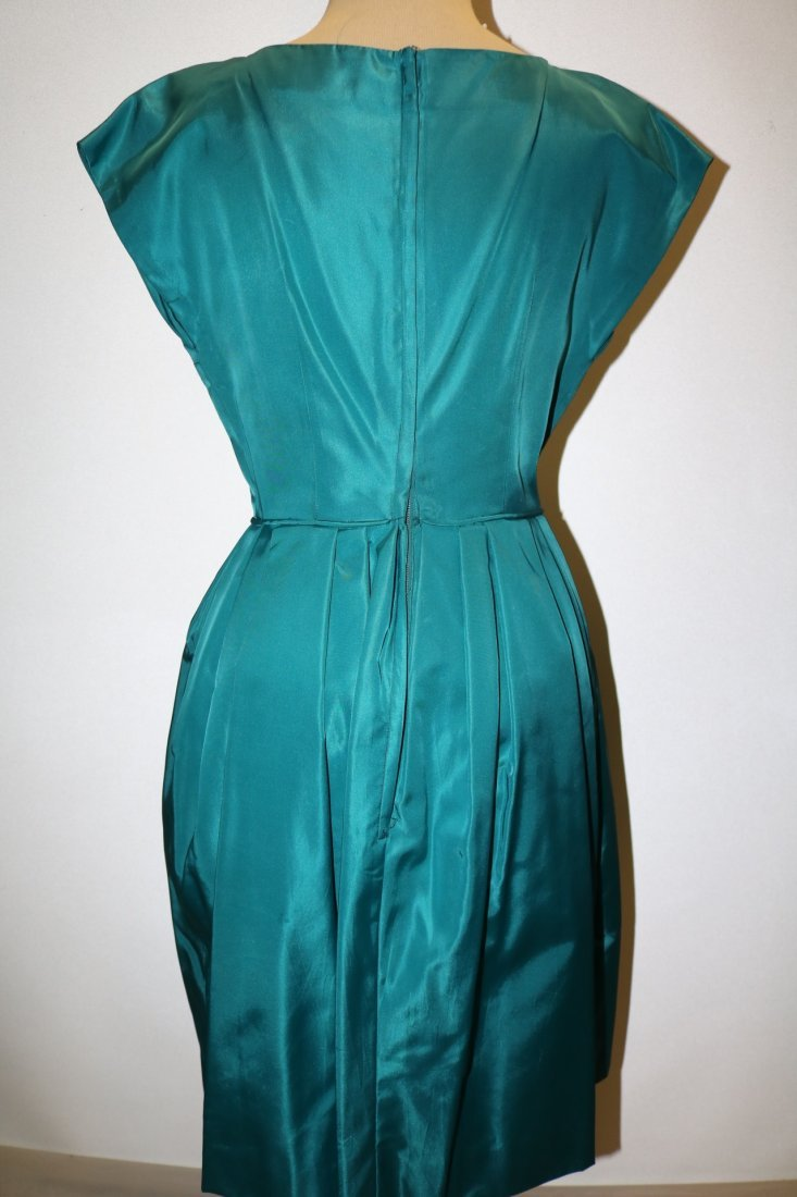 1960's Teal Blue Taffeta Dress with bow at waist - 5