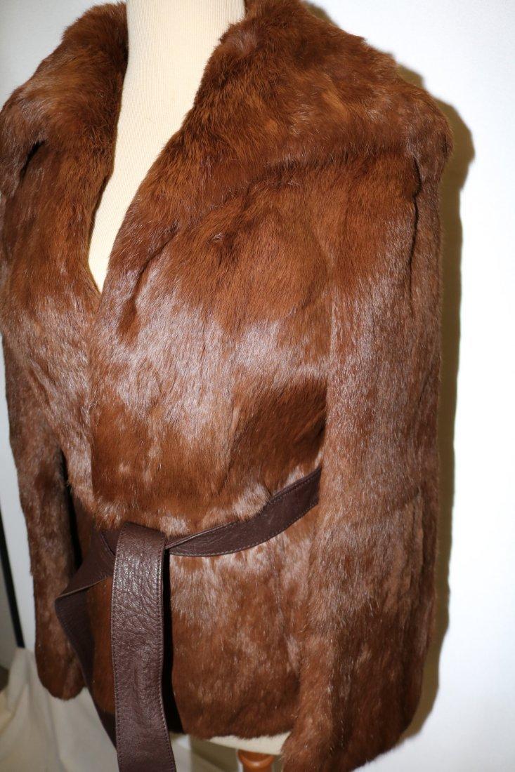 Vintage 1970s tawny brown super soft rabbit fur jacket - 2