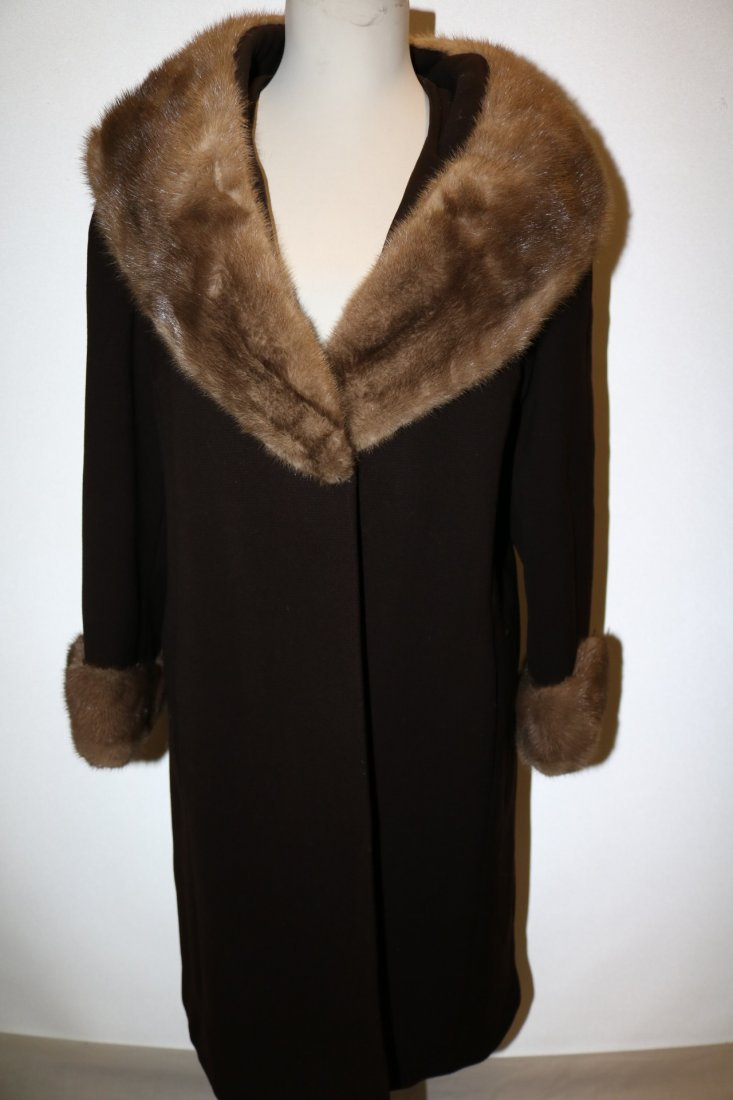 1960's Brown Wool Coat with large Fur Shawl Collar by
