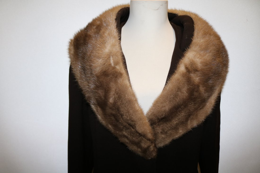 1960's Brown Wool Coat with large Fur Shawl Collar by - 2
