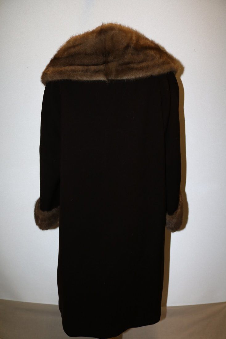 1960's Brown Wool Coat with large Fur Shawl Collar by - 4