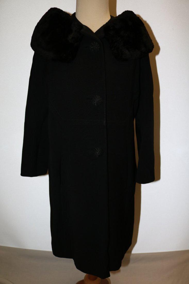 Vintage Ladies 1950's Black Dress/Evening Coat with Fur