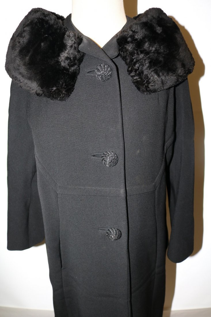 Vintage Ladies 1950's Black Dress/Evening Coat with Fur - 2
