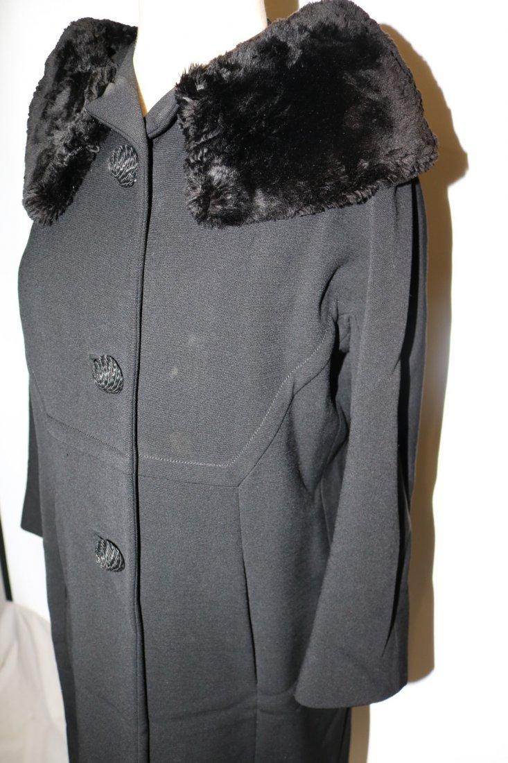 Vintage Ladies 1950's Black Dress/Evening Coat with Fur - 3