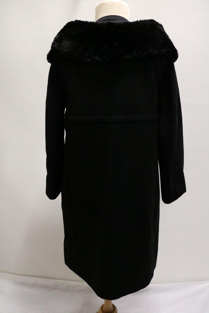 Vintage Ladies 1950's Black Dress/Evening Coat with Fur - 4