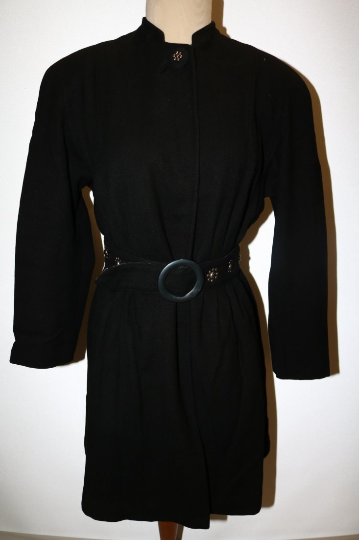 Vintage 1940's Woman's Black Coat with fancy studded