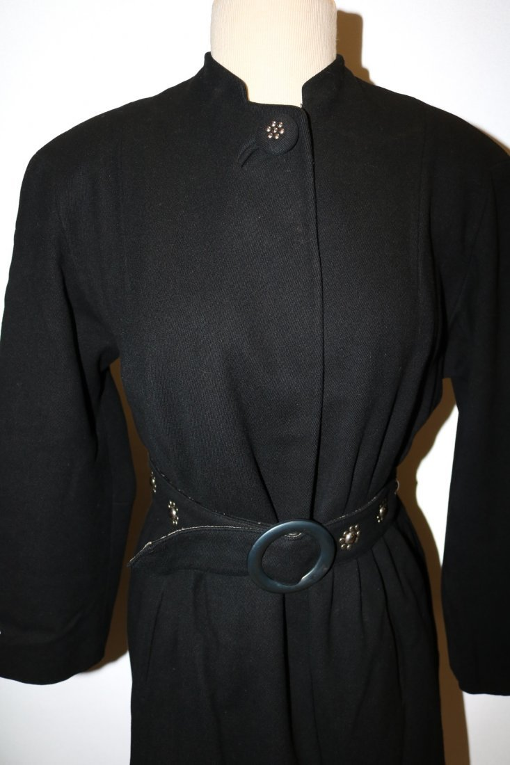 Vintage 1940's Woman's Black Coat with fancy studded - 2