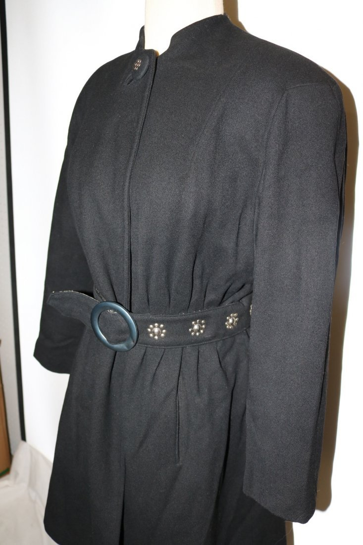Vintage 1940's Woman's Black Coat with fancy studded - 3