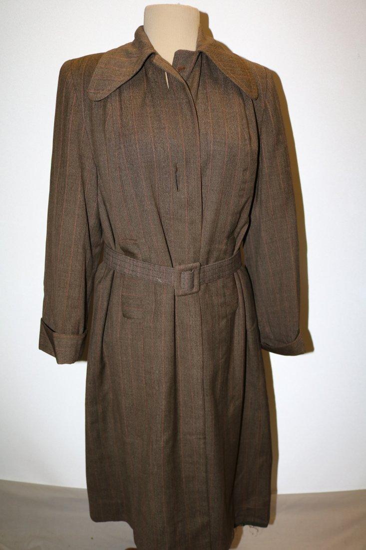 Vintage 1940's Woman's Coat, Brown Rust Chalk Stripe