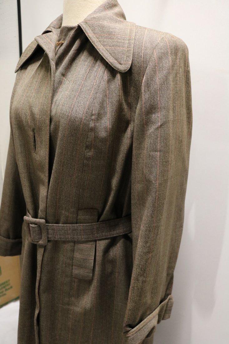 Vintage 1940's Woman's Coat, Brown Rust Chalk Stripe - 3