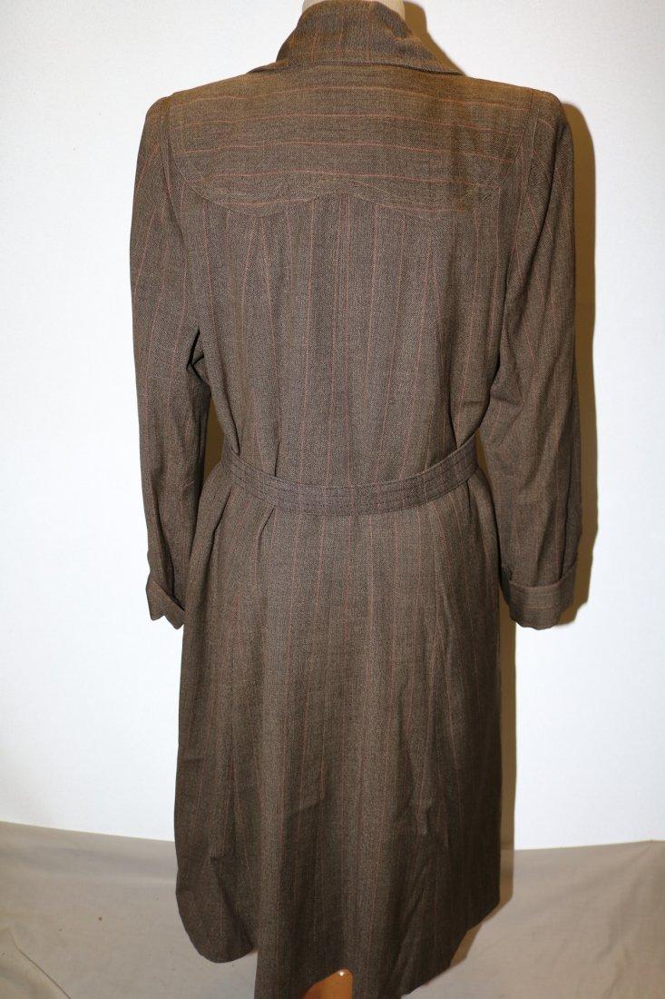 Vintage 1940's Woman's Coat, Brown Rust Chalk Stripe - 4