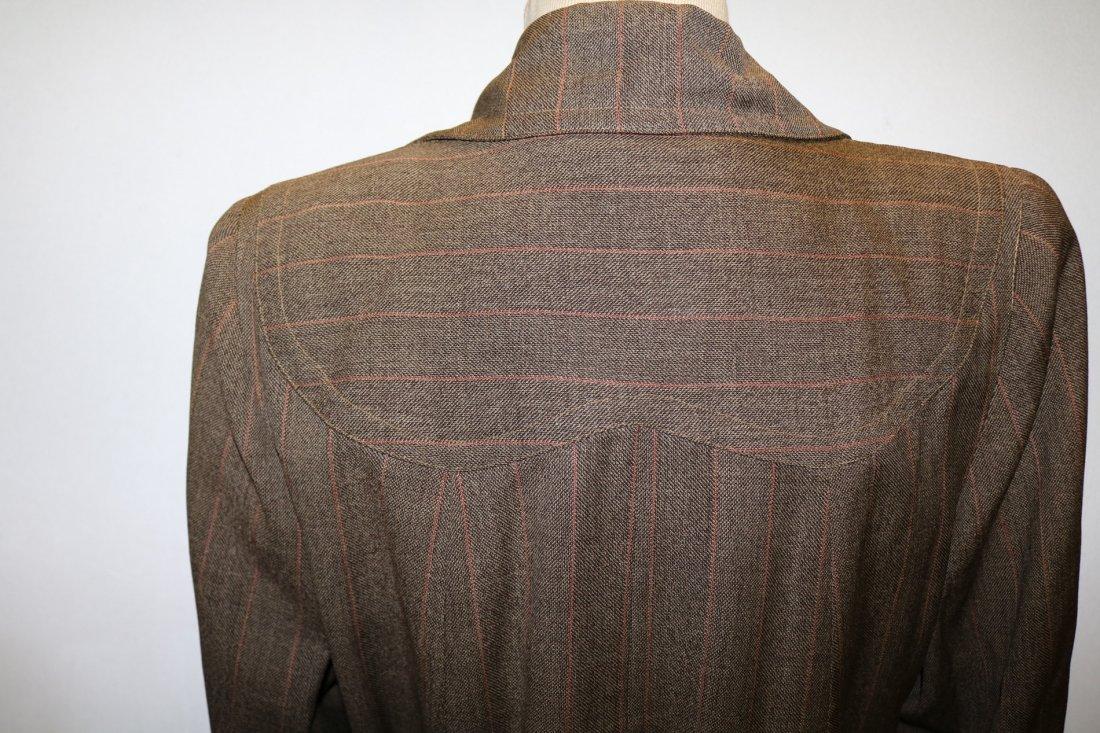 Vintage 1940's Woman's Coat, Brown Rust Chalk Stripe - 5