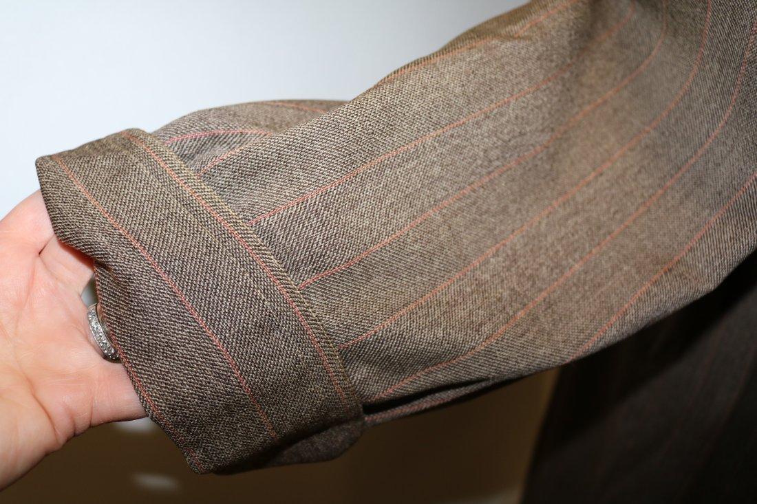 Vintage 1940's Woman's Coat, Brown Rust Chalk Stripe - 6