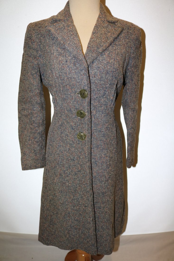 Vintage 1950's Woman's Coat with gray, pink, blue fleck