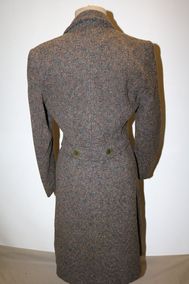 Vintage 1950's Woman's Coat with gray, pink, blue fleck - 4