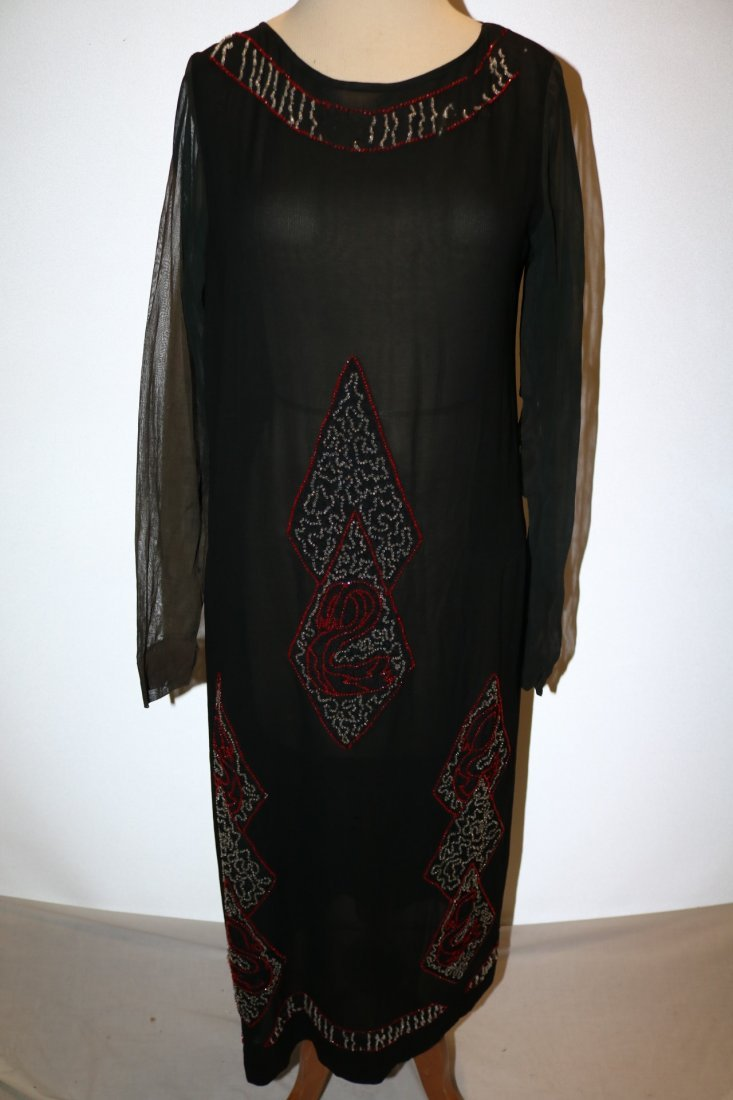 1920's Beaded Flapper Dress, Black Silk with Red &