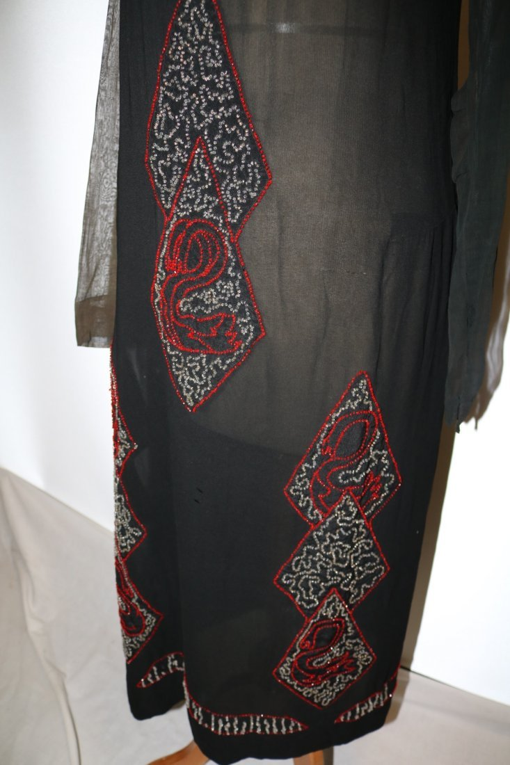 1920's Beaded Flapper Dress, Black Silk with Red & - 3