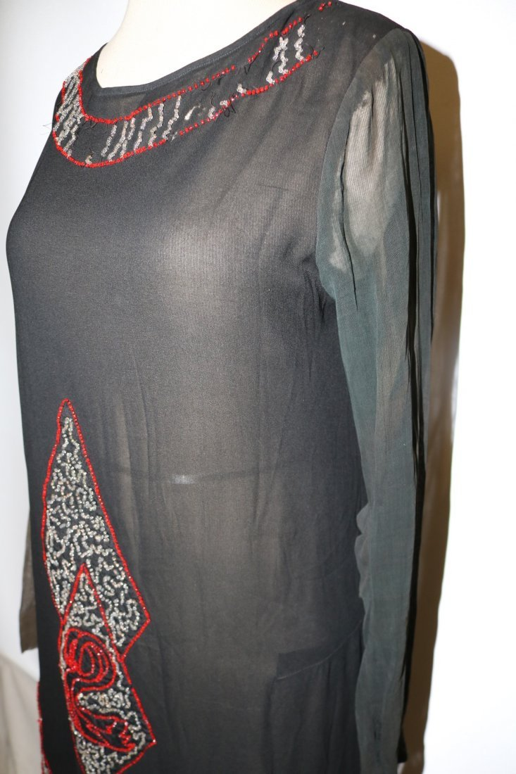 1920's Beaded Flapper Dress, Black Silk with Red & - 4
