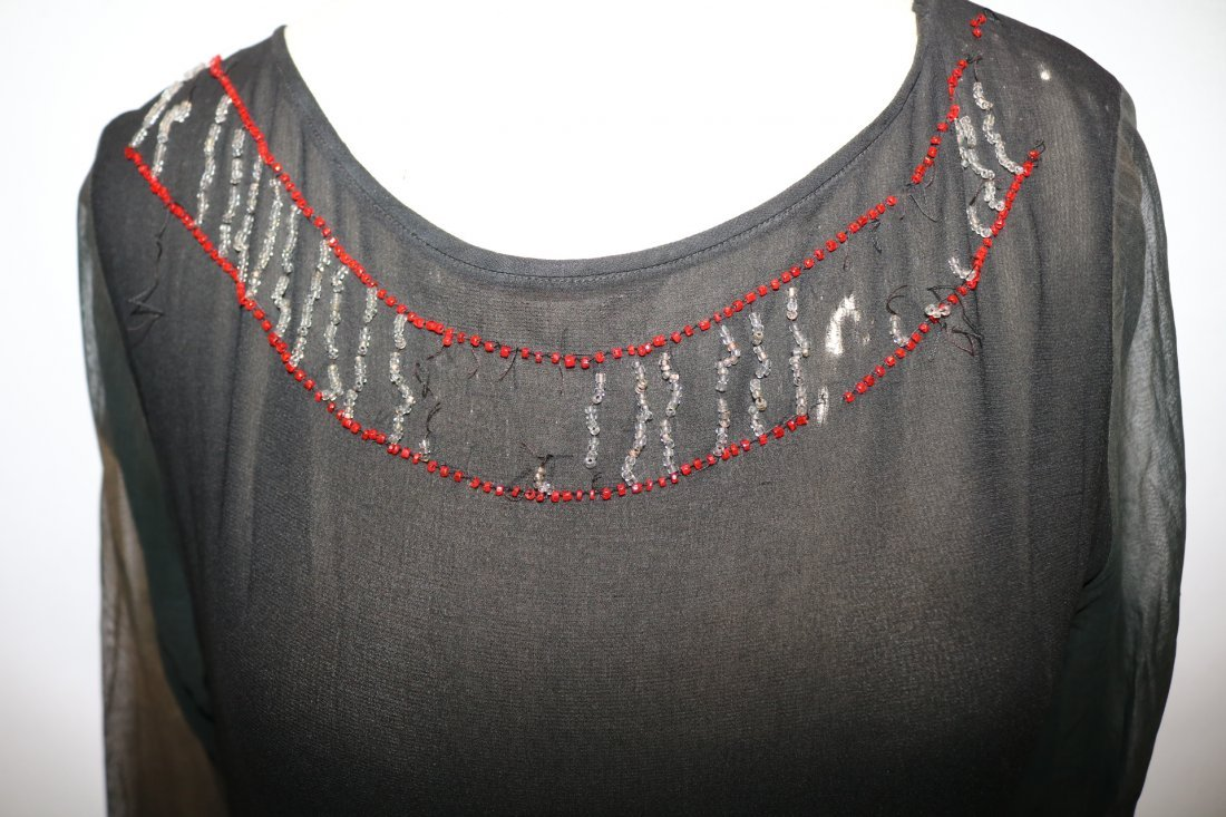 1920's Beaded Flapper Dress, Black Silk with Red & - 5