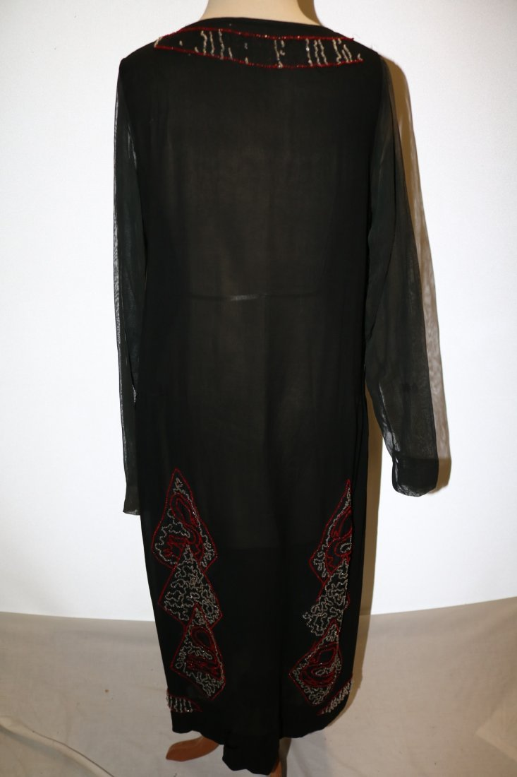 1920's Beaded Flapper Dress, Black Silk with Red & - 6