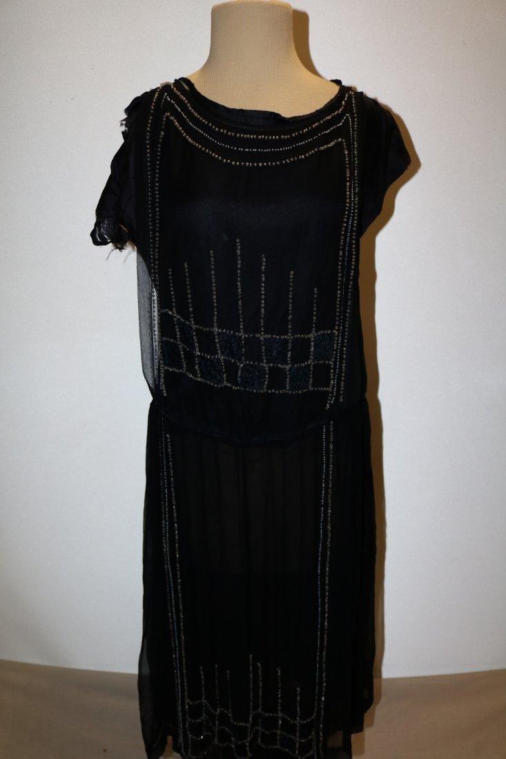 1920's Navy Blue Silk & Beaded Flapper Dress