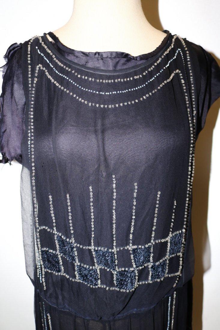 1920's Navy Blue Silk & Beaded Flapper Dress - 2