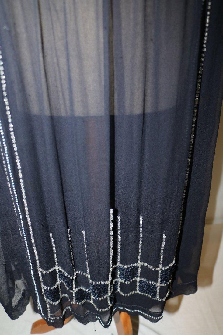 1920's Navy Blue Silk & Beaded Flapper Dress - 3