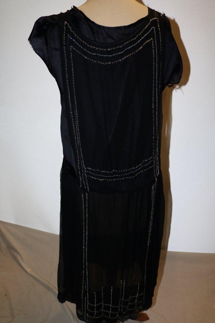1920's Navy Blue Silk & Beaded Flapper Dress - 5