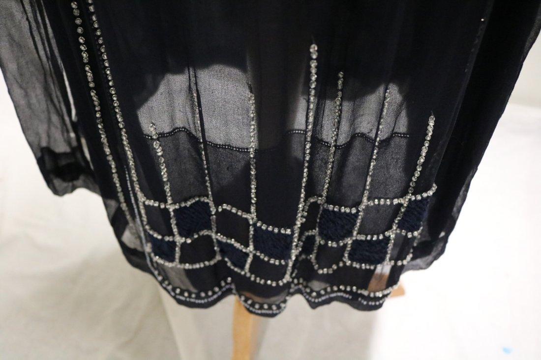 1920's Navy Blue Silk & Beaded Flapper Dress - 6