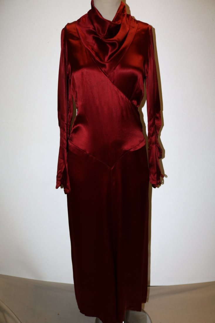 1930's Satin Long Sleeve Dress in Red