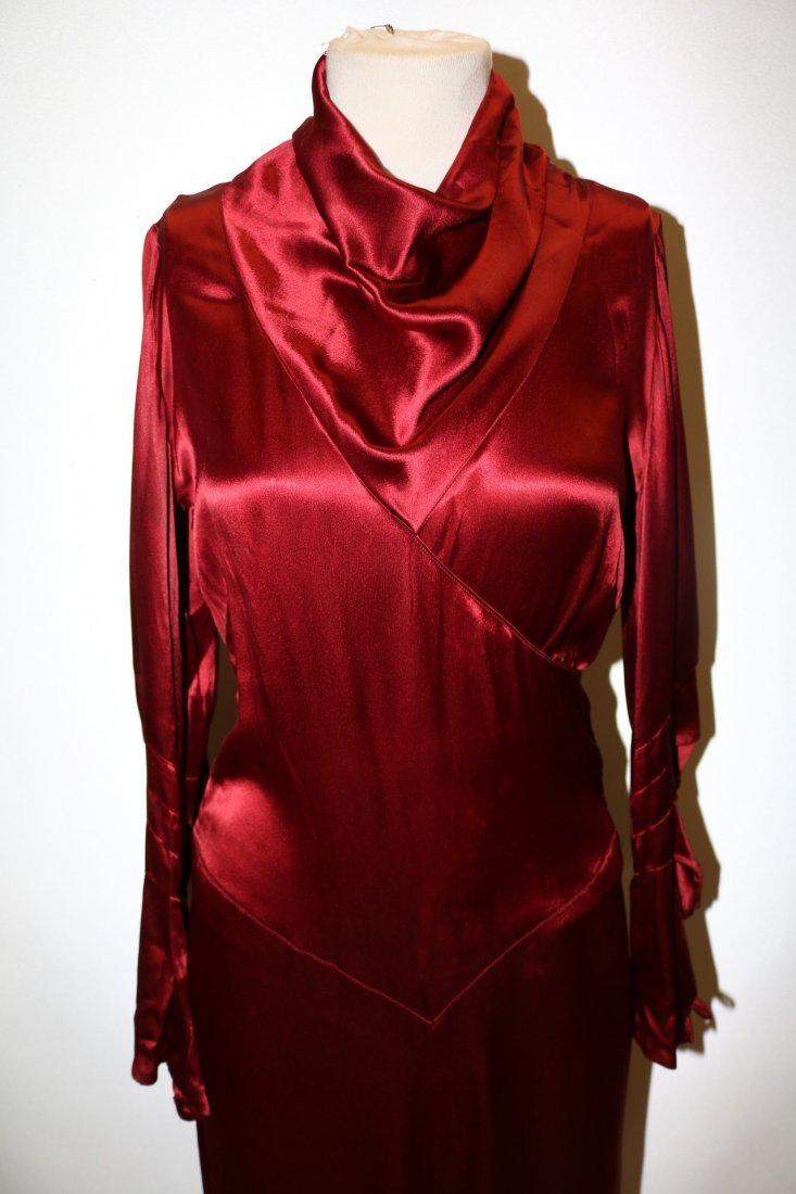 1930's Satin Long Sleeve Dress in Red - 2