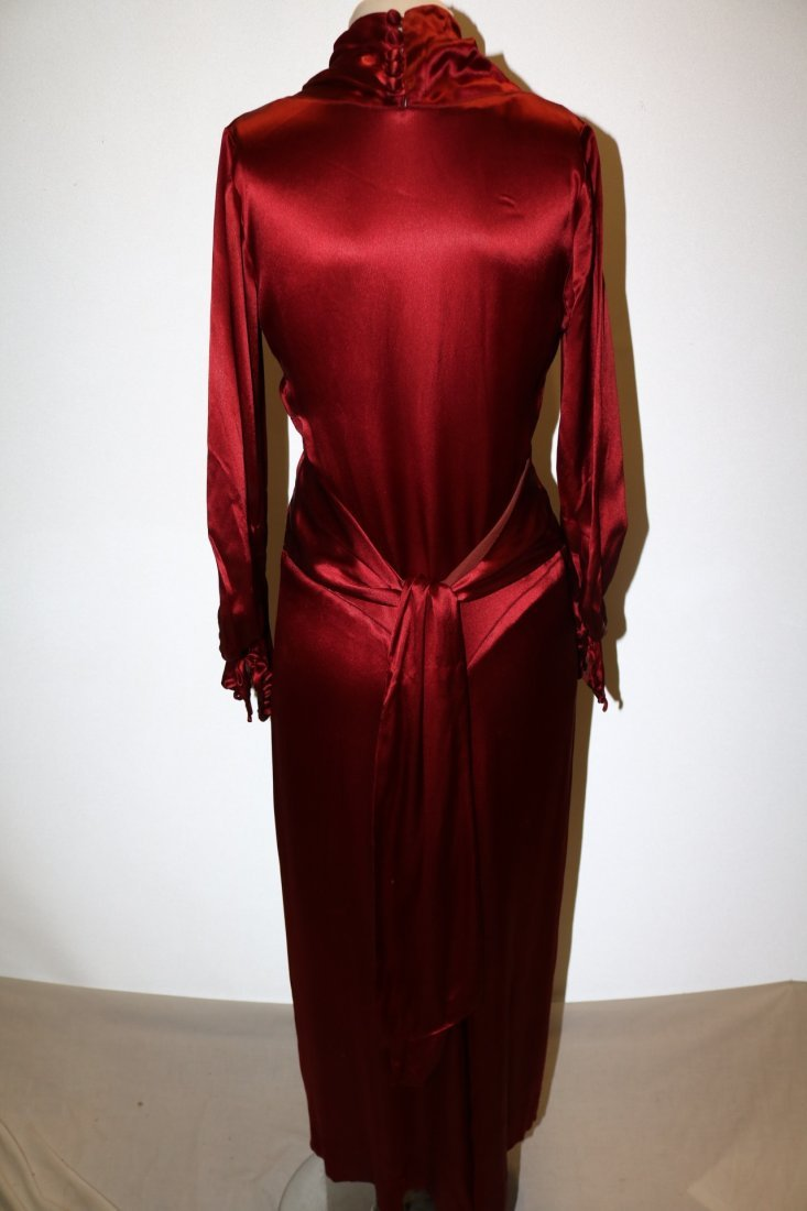 1930's Satin Long Sleeve Dress in Red - 5