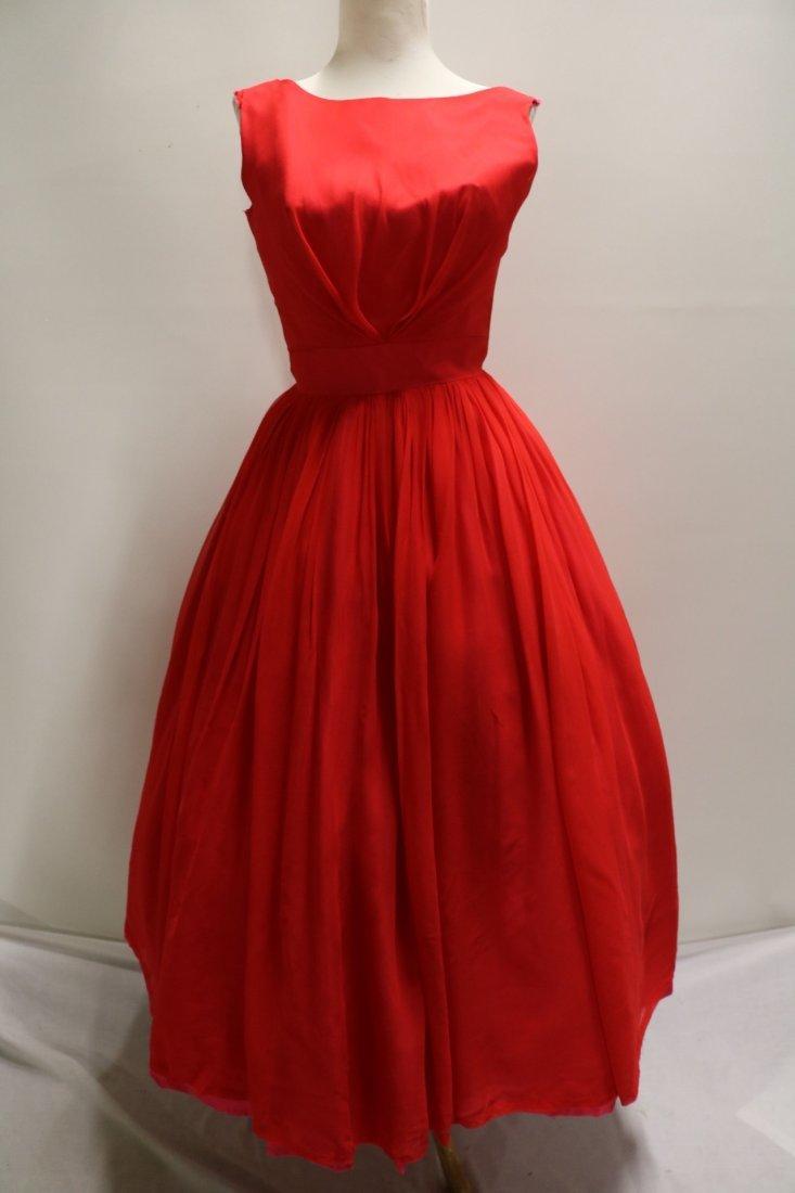 1950's Red Chiffon Sleeveless Fit to Flare Pouf Dress
