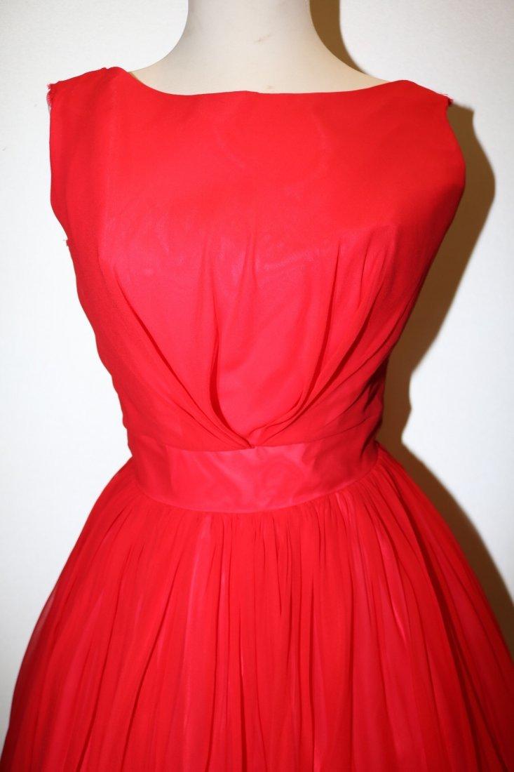 1950's Red Chiffon Sleeveless Fit to Flare Pouf Dress - 2