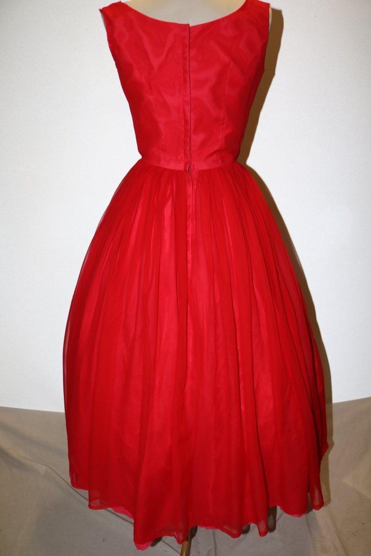 1950's Red Chiffon Sleeveless Fit to Flare Pouf Dress - 4
