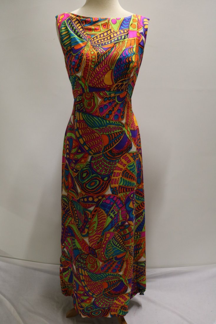 1960's Bright Colorful Classic Gown by Ira Curtis