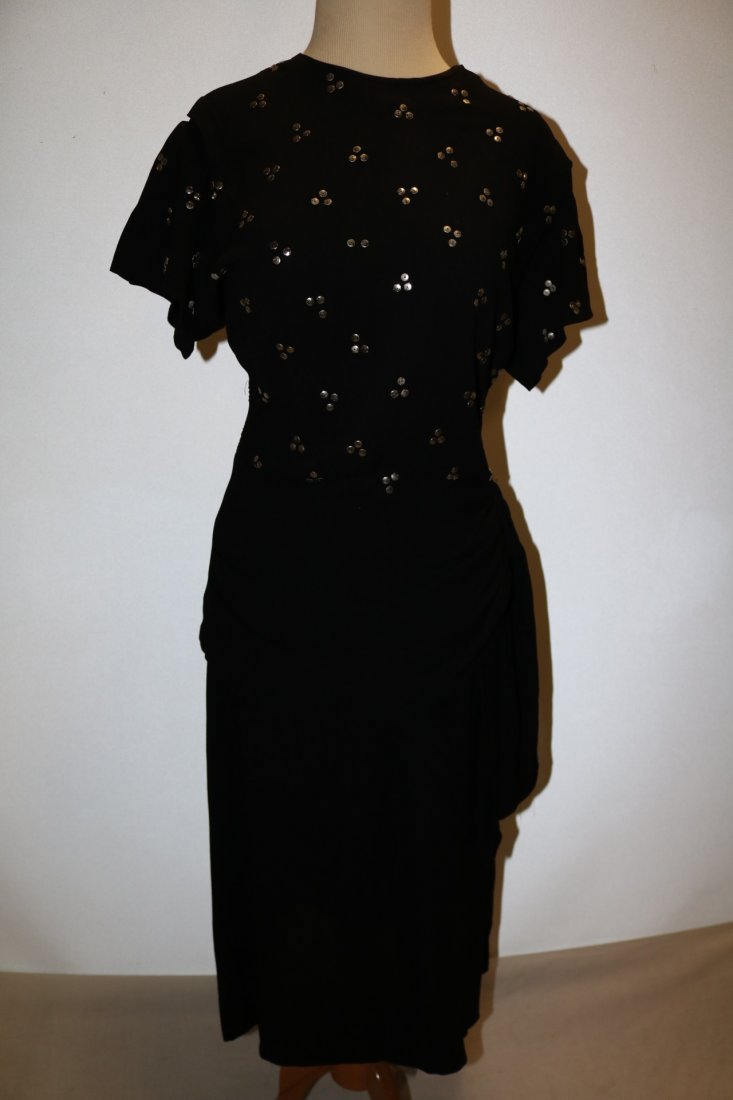 1940's Black Rayon Dress with Studded Bodice, An