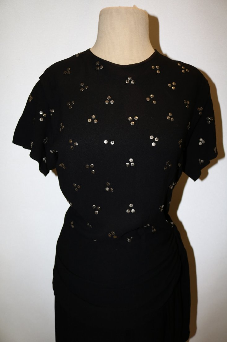 1940's Black Rayon Dress with Studded Bodice, An - 2