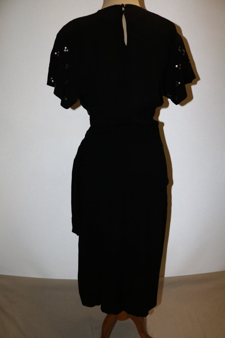 1940's Black Rayon Dress with Studded Bodice, An - 6
