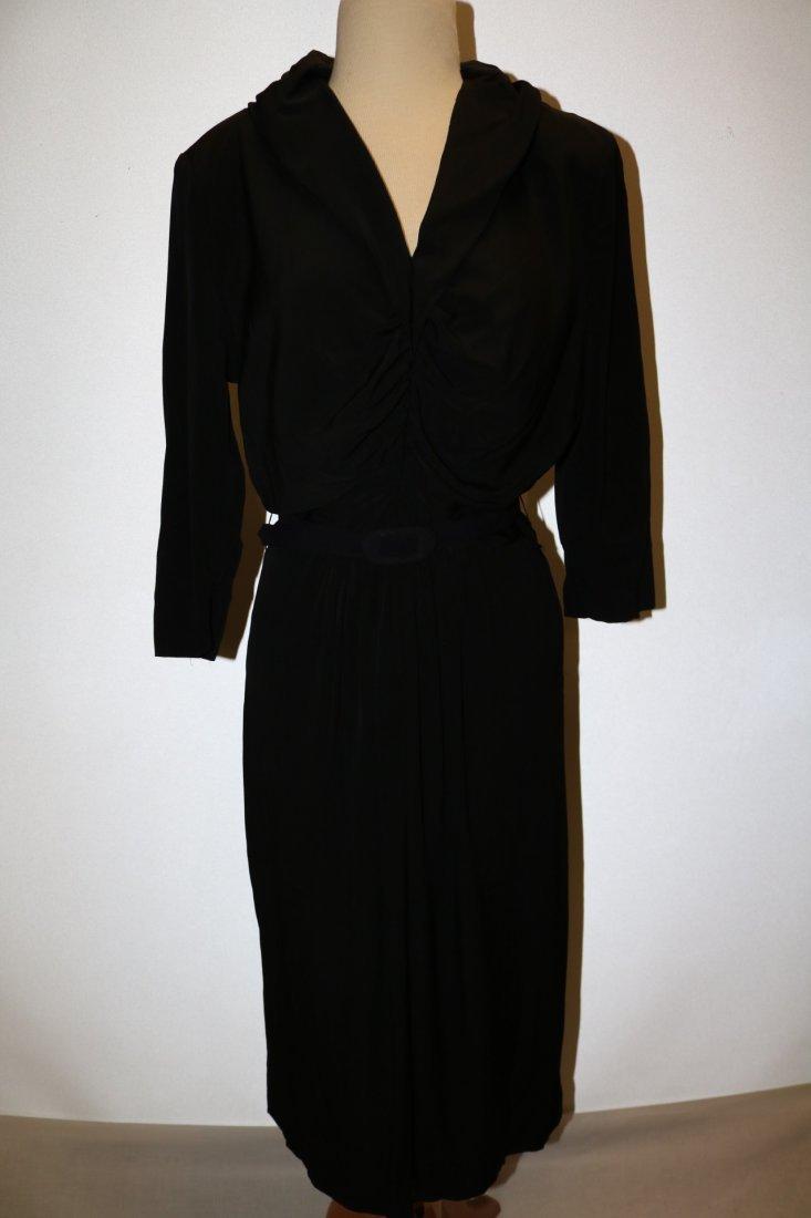 1940's Black Rayon Long Sleeve Dress