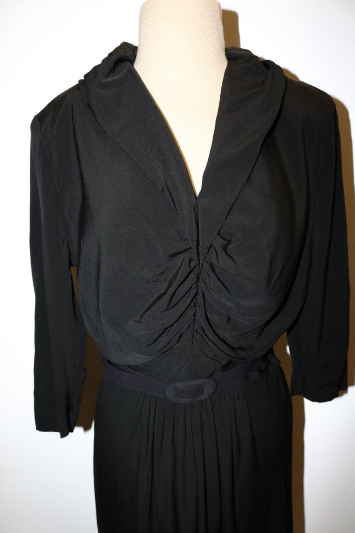 1940's Black Rayon Long Sleeve Dress - 2